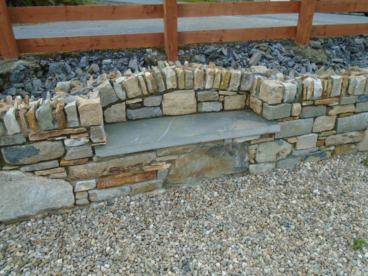 Garden features steps inishowen stone work reclaimed stone garden wall with integrated seat workwithnaturefo