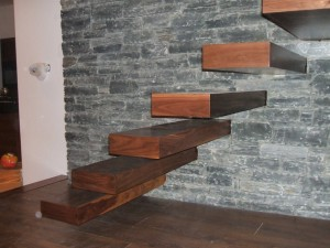 Feature Interior Wall with Floating Stairs