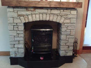 Fireplace with Mahogany Mantle